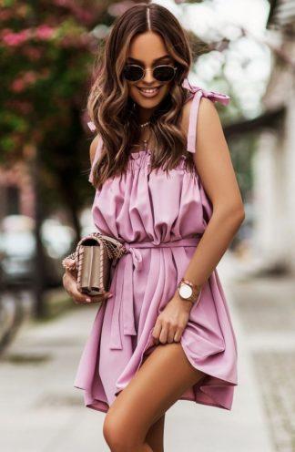 Sukienka hiszpanka z wiązaniami różowa