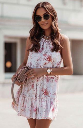 Mini sukienka z dekoltem halter w kwiaty