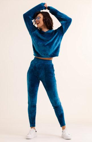 Welurowy komplet z bluzą z kapturem niebieski