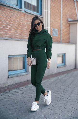 Dres z krótką bluzą z kapturem zielony
