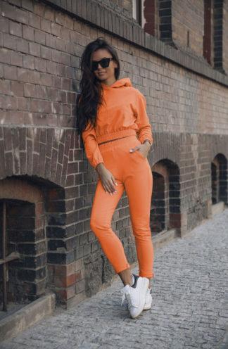 Dres z krótką bluzą z kapturem pomarańczowy