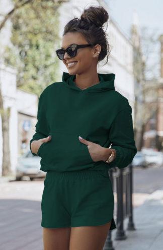 Krótki komplet z bluzą z kapturem zielony