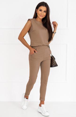 Komplet z poszerzaną bluzką brązowy
