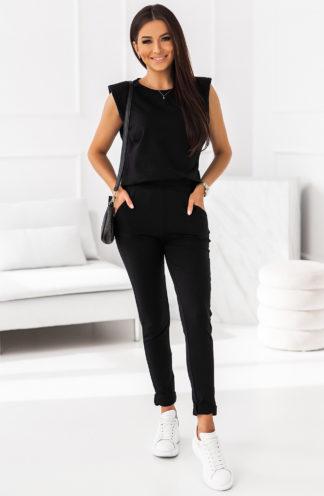 Komplet z poszerzaną bluzką czarny