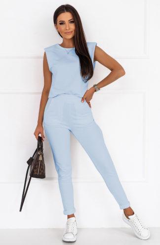 Komplet z poszerzaną bluzką błękitny