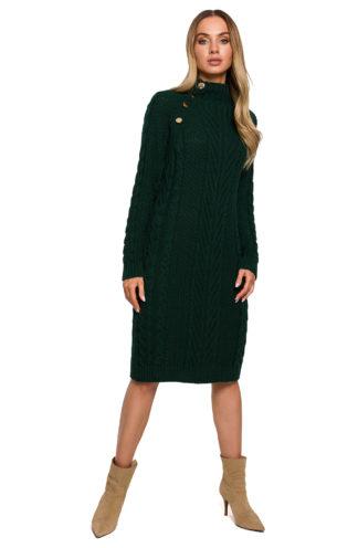 Swetrowa sukienka ze złotymi guzikami zielona