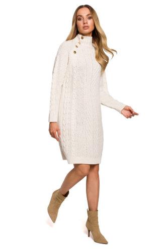 Swetrowa sukienka ze złotymi guzikami beżowa