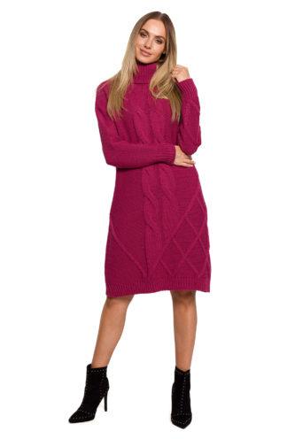Swetrowa sukienka z golfem różowa