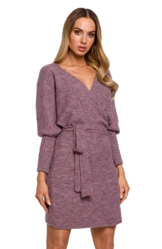 Swetrowa sukienka z wiązaniem fioletowa
