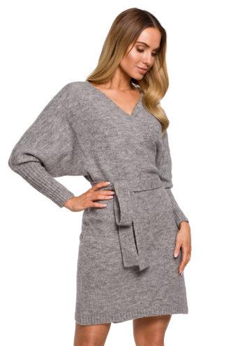 Swetrowa sukienka z wiązaniem szara