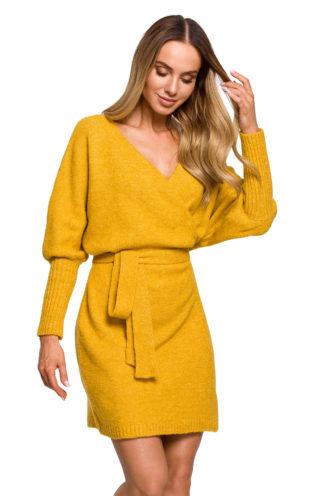 Swetrowa sukienka z wiązaniem musztardowa