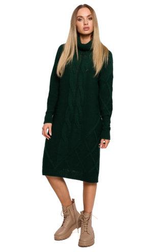 Swetrowa sukienka z golfem zielona