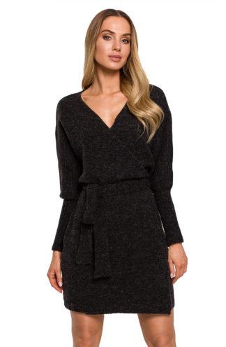 Swetrowa sukienka z wiązaniem antracyt