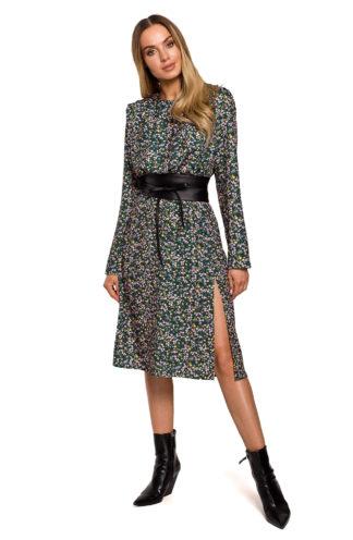 Elegancka sukienka midi w kwiaty zielona