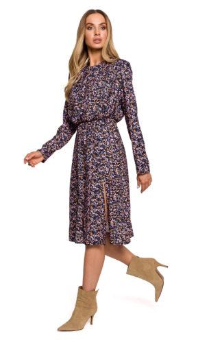 Elegancka sukienka midi w kwiaty fioletowa