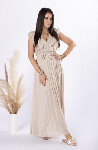 Plisowana sukienka maxi z szyfonu