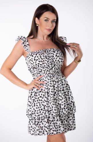 Mini sukienka z falbankami w cętki