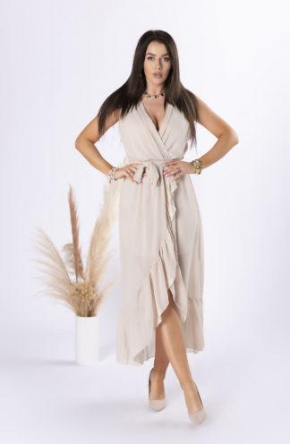 Szyfonowa sukienka midi z wiązaniem