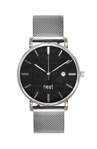 Stalowy zegarek z czarną tarczą srebrny