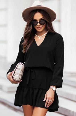 Sukienka z wiązaniem i falbaną czarna